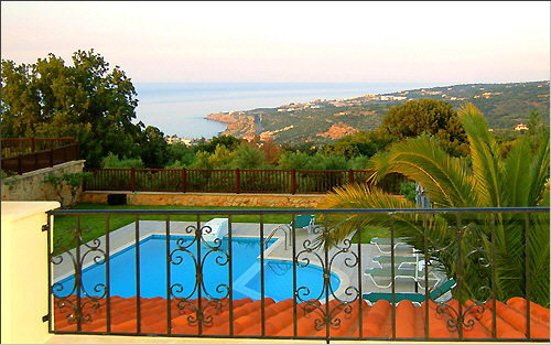 Villa Anemoni - View of the pool and the bay from the balcony